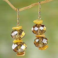 Agate dangle earrings, 'Earthly Treasure' - Agate and Glass Bead Dangle Earrings from West Africa