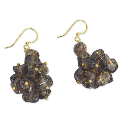 Brown Agate Cluster Earrings from West Africa