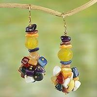 Agate cluster earrings,