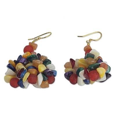 Multicolored Agate Cluster Earrings from West Africa