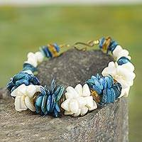 Agate beaded bracelet, 'Ocean Spray' - Blue and White Agate Beaded Bracelet from West Africa