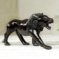 Ebony wood sculpture, 'Lion Prowl' - Mighty African Lion Hand Carved Ebony Wood Sculpture