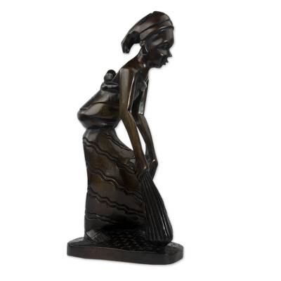 Ghanaian Mother and Child Ebony Wood Hand-carved Sculpture