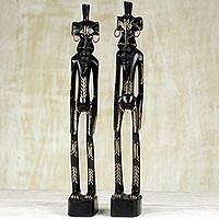 Ebony wood figurines, 'Senufo Villagers' (pair) - Hand Carved Pair of Senufo Tribe Figurines from Ghana