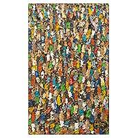 'Ten Thousand Spirits' - Original Signed West African Abstract Market Scene