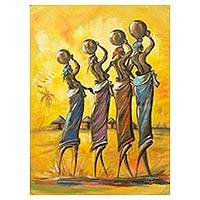 'Sticky Situation' (2015) - Original Painting of African Women Fetching Water