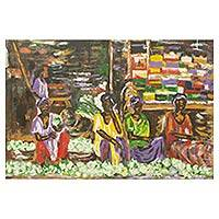 'Cabbage Women' - Acrylic Painting of African Market Women Selling Vegetables