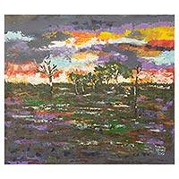 'Gulf Country' - African Acrylic Landscape Painting of Australian Sunset