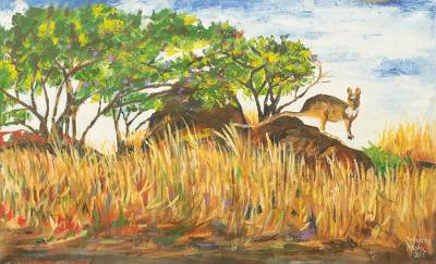 'Kangaroo of Steep Rocky Terrains' - African Acrylic Painting of Kangaroo in Rocky Landscape