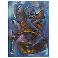 'Beauty and Fertility' - Original Signed Expressionist Painting from West Africa