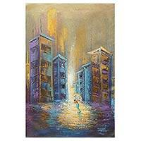 'Perseverance' - Acrylic Expressionist Painting Cityscape from West Africa