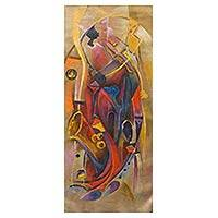 'Music Orchestra' - Original Expressionist Painting Musicians from West Africa