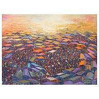 'Blissful' (2014) - Multicolored Signed Painting Cityscape from West Africa