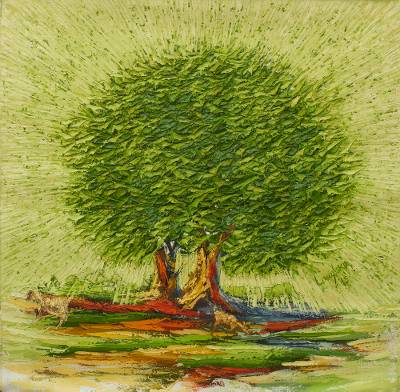 'Greener Pasture' (2015) - African Tree and Goat Oil Painting on Unstretched Canvas