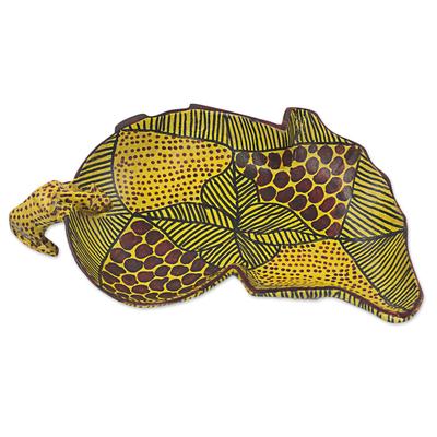 Hand Made African Cheetah Teak Centerpiece from West Africa