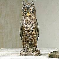 Wood sculpture, 'Watchful Owl' - Wooden Upright Owl Sculpture Hand Carved in Ghana