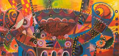 African Music Theme Signed Abstract Painting
