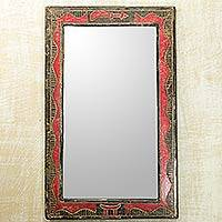 Wood wall mirror, 'Akofena' - Rustic Wood Rectangular Wall Mirror from West Africa
