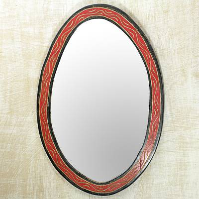 Wood wall mirror, 'Nkosua' - Hand Made Oval Shaped Wood Wall Mirror from West Africa