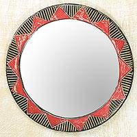 Wood wall mirror, 'Ga Moon' - Hand Made Circle Shaped Wood Wall Mirror from West Africa
