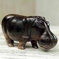 Wood sculpture, 'Majestic Hippo' - Hand Made Wood Hippopotamus Sculpture from Ghana