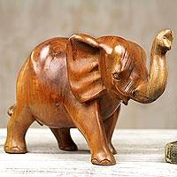 Wood sculpture, 'Cheerful Elephant' - Handmade Wooden Elephant Sculpture from Ghana