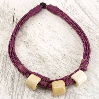 Leather and bone torsade necklace, 'Yembo Violet' - Plum Leather Artisan Crafted Torsade Necklace with Bone