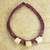 Leather and bone torsade necklace, 'Yembo Violet' - Plum Leather Artisan Crafted Torsade Necklace with Bone (image 2b) thumbail
