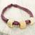Leather and bone torsade necklace, 'Yembo Violet' - Plum Leather Artisan Crafted Torsade Necklace with Bone (image 2c) thumbail