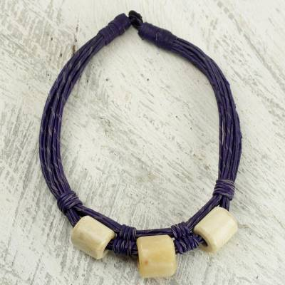 Leather and bone torsade necklace, 'Yembo Purple' - Leather Artisan Crafted Purple Necklace with Bone Squares