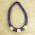 Leather and bone torsade necklace, 'Yembo Blue' - Blue Leather Artisan Crafted Necklace with Bone Squares (image 2b) thumbail