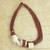 Leather and horn torsade necklace, 'Sougri Paprika' - Handmade Red Leather Necklace with Horn and Bone Pendants (image 2b) thumbail