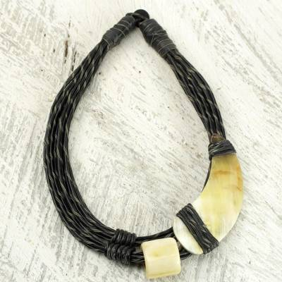 Leather and horn torsade necklace, 'Sougri Black' - Horn and Bone Pendants on Black Leather Necklace
