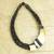 Leather and horn torsade necklace, 'Sougri Black' - Horn and Bone Pendants on Black Leather Necklace (image 2b) thumbail