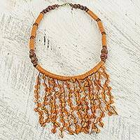 Beaded waterfall necklace, 'Orange Taowre' - Hand Crafted Necklace with Orange Recycled Plastic and Wood