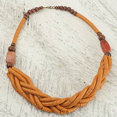 Braided bead necklace, 'Sosongo in Orange' - Handcrafted Orange Braided Bead Necklace with Wood and Agate