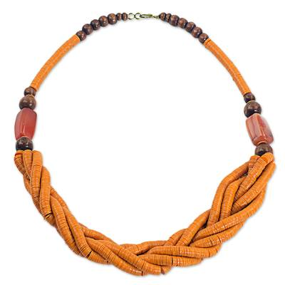Handcrafted Orange Braided Bead Necklace with Wood and Agate