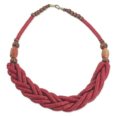 Handcrafted Red Braided Bead Necklace with Wood and Agate