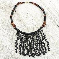 Beaded waterfall necklace, 'Black Taowre' - Black Recycled Plastic and Wood Artisan Crafted Necklace