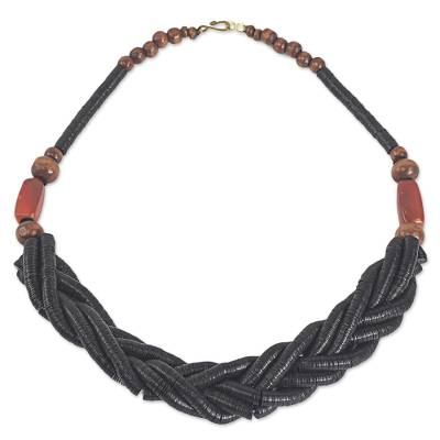 Handcrafted Black Braided Bead Necklace with Wood and Agate