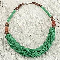 Braided bead necklace, 'Sosongo in Green' - Handcrafted Green Braided Bead Necklace with Wood and Agate