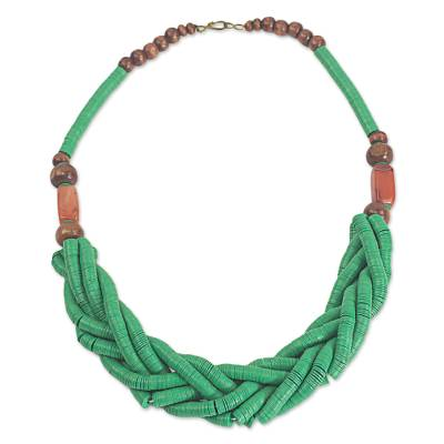 Handcrafted Green Braided Bead Necklace with Wood and Agate