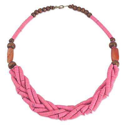 Handcrafted Pink Braided Bead Necklace with Wood and Agate