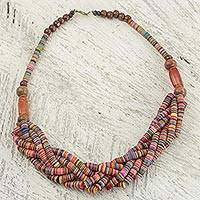 Braided bead necklace, 'Multicolor Sosongo' - Artisan Multicolor Braided Bead Necklace with Wood and Agate