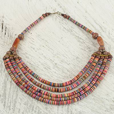 Beaded necklace, 'Multicolor Wend Panga' - Artisan Multicolor Bead Necklace with Wood Agate and Leather
