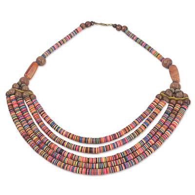 Artisan Multicolor Bead Necklace with Wood Agate and Leather