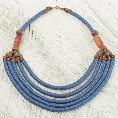 Beaded necklace, Wend Panga in Blue