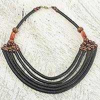 Beaded necklace, 'Wend Panga in Black' - Artisan Black Bead Necklace with Sese Wood Agate and Leather