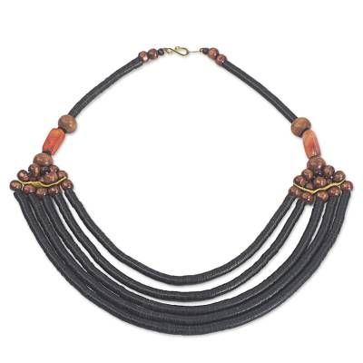 Artisan Black Bead Necklace with Sese Wood Agate and Leather