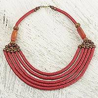 Beaded necklace, 'Wend Panga in Red' - Artisan Red Bead Necklace with Sese Wood Agate and Leather